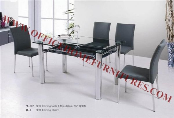 Toughened Glass Dining Table & Chair
